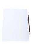 Schließen Sie oben von einem Blatt Papier Briefpapier mit Bleistift Stockbilder