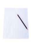 Schließen Sie oben von einem Blatt Papier Briefpapier mit Bleistift Lizenzfreies Stockfoto