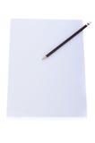 Schließen Sie oben von einem Blatt Papier Briefpapier mit Bleistift Stockfoto