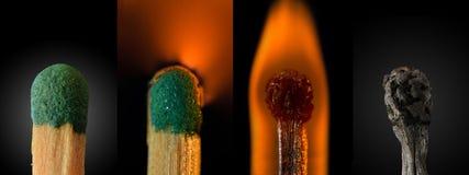 Schließen Sie oben von einem brennenden Match - Zusammenstellung Lizenzfreie Stockbilder