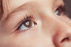 Schließen Sie oben von einem jungen child& x27; s-Augen lizenzfreies stockfoto