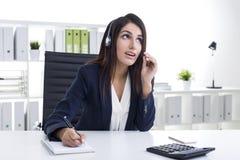 Schließen Sie oben von einem Kundenbetreuungs-Abteilungs-Angestellten Lizenzfreie Stockfotografie