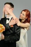 Schließen Sie oben von einem netten jungen Hochzeitspaar Lizenzfreie Stockbilder