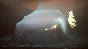 Schließen Sie oben von einem Neuwagen, der unter Abdeckung versteckt wird Stockbilder