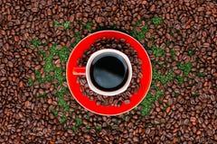 Schlie?en Sie oben von einem roten Tasse Kaffee auf Kaffeebohnen stockfotografie