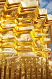 Schließen Sie oben von einem Teil der goldenen Pagode Stockfoto