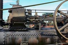 Schließen Sie oben von einer alten Dampfmaschine Lizenzfreies Stockfoto