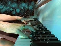 Schließen Sie oben von einer Frau, die eine Klaviertastatur spielt stock abbildung