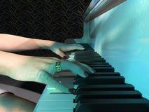 Schließen Sie oben von einer Frau, die eine Klaviertastatur spielt vektor abbildung