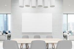 Schließen Sie oben von einer Konferenzsaaltabelle, Weiß, Plakat vektor abbildung