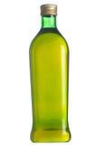 Schließen Sie oben von einer Olivenölflasche, die auf Weiß getrennt wird. Stockfotos