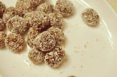 Schließen Sie oben von einer weißen Platte mit selbst gemachten Kakao- und Kokosnussplätzchenkugeln stockbild