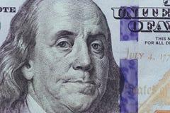 Schließen Sie oben von Franklin auf 100 Dollarschein Stockbild