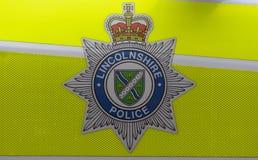 Schließen Sie oben von Lincolnshire-Polizeimarke Lizenzfreies Stockbild