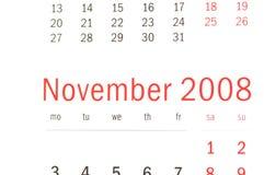Schließen Sie oben von November 2008 Stockbild
