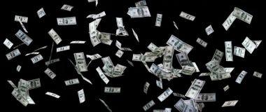 Schließen Sie oben von US-Dollar Geld, das über Schwarzes fliegt Stockfotografie