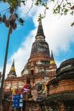 Schließen Sie oben von Wat Yai Chaimongkhon, Ayuthaya, Thailand Stockbild