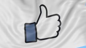 Schließen Sie oben von wellenartig bewegender Flagge mit Facebook wie Knopfdaumen oben, nahtlose Schleife, blauer Hintergrund Red stock video