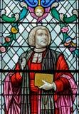 Schließen Sie oben von William Paley Stained Glass Window in Lincoln Cathed stockfotos