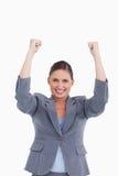 Schließen Sie oben von zujubelndem Tradeswoman Lizenzfreie Stockfotos