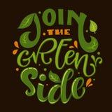 Schließen Sie sich dem grünen Seitentextslogan an Bunte Beschriftungsphrase des grünes und orange eco freundliche Handabgehobe lizenzfreie abbildung