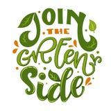 Schließen Sie sich dem grünen Seitentextslogan an Bunter grünes und orange eco freundlicher Handabgehobener betrag lokalisiert stock abbildung