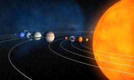 Schließen Sie Sonnensystem ab lizenzfreie abbildung