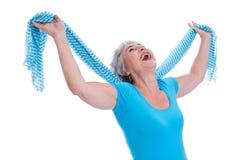 Schließlich Pension - reine Freiheit - ältere Frau lokalisiert Stockfotos