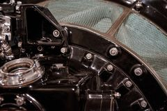 Schließen Sie oben vom alten Maschinenkompressor stockbild