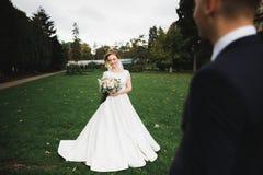 Schließen Sie oben von einem netten jungen Hochzeitspaar stockbilder