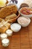 Schließen Sie Aromatherapy und Entspannung-Badekurort-Satz ab Lizenzfreies Stockfoto