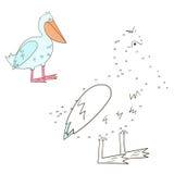 Schließen Sie die Punktspielpelikan-Vektorillustration an Lizenzfreies Stockbild