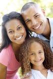 Schließen Sie herauf Porträt der jungen Afroamerikaner-Familie Stockfotos