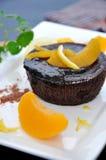 Schließen Sie herauf Schokoladenlavakuchen Stockbild