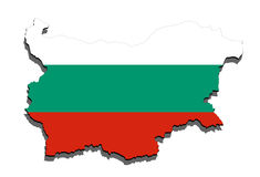 Schließen Sie oben auf Bulgarien-Karte auf weißem Hintergrund Lizenzfreie Stockfotos