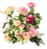 Schließen Sie oben von rosa lokalisiertem weißem Hintergrund der Rosenblumen Blumenstrauß Lizenzfreie Stockfotos