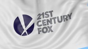 Schließen Sie oben von wellenartig bewegender Flagge mit Fox-Logo des 21. Jahrhunderts, nahtlose Schleife, blauer Hintergrund Red stock video