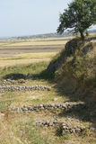 Schliemann trench. Part of destructive first excavation of Troy, . Turkey Royalty Free Stock Images