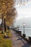 Schliersee de la 'promenade' de la orilla del lago, con los bancos y el pasto de oro del abedul Imagen de archivo