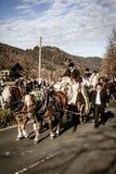 Schliersee, Γερμανία, Βαυαρία, στις 8 Νοεμβρίου 2015: horse-drawn μεταφορά με τα αγόρια βωμών σε Schliersee σε Leonhardifahrt Στοκ Φωτογραφίες