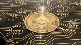 Schlingen Sie Goldschlüsselwährung Ethereum-Welt in den Stromkreisen stock video