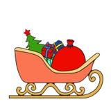 Schlitten mit Geschenken von Santa Claus Lizenzfreie Stockfotos