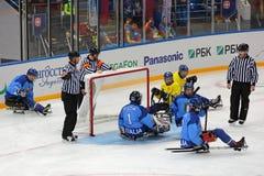Schlittenhockey Stockfoto