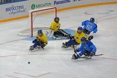 Schlittenhockey Stockbild