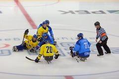 Schlittenhockey Stockfotografie