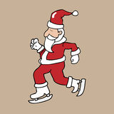 Schlittschuh Santa Christmas Lizenzfreie Stockfotos