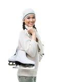 Schlittschuhläufer der weiblichen Abbildung übergibt Rochen Stockfotos