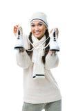 Schlittschuhläufer der weiblichen Abbildung hält Rochen an Lizenzfreie Stockfotos