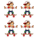 Schlittschuhläufer-Jungen-Rollen-Karikatur Sprite Stockbilder