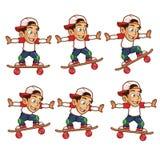 Schlittschuhläufer-Jungen-springende Karikatur Sprite Stockfotos